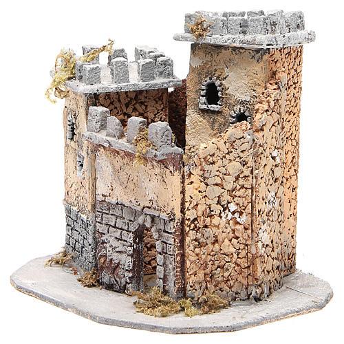 Castelo presépio napolitano em cortiça 20x22x20 cm 2