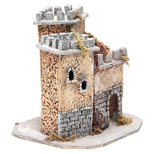 Castelo presépio napolitano em cortiça 20x22x20 cm 3