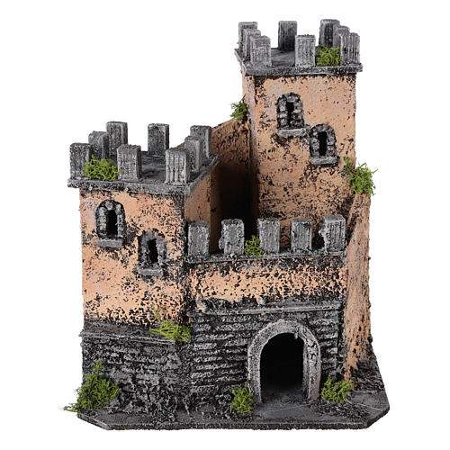 Castelo presépio napolitano em cortiça 20x22x20 cm 5