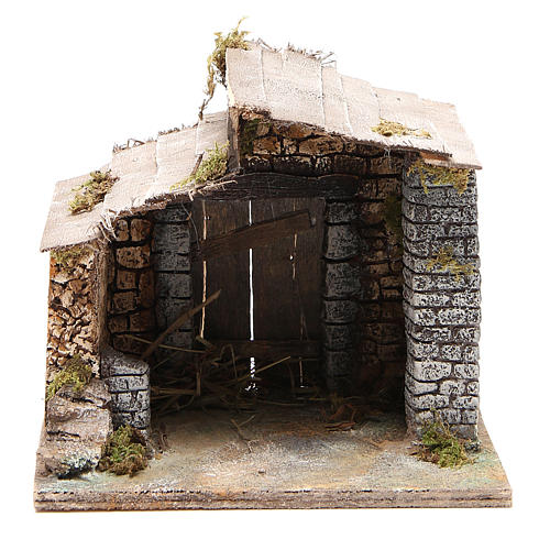 Stable for Neapolitan nativity scene in cork and wood 17x20x16cm 1