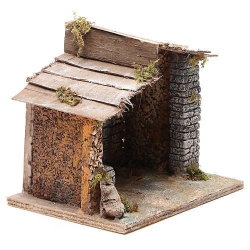 Stable for Neapolitan nativity scene in cork and wood 17x20x16cm 3