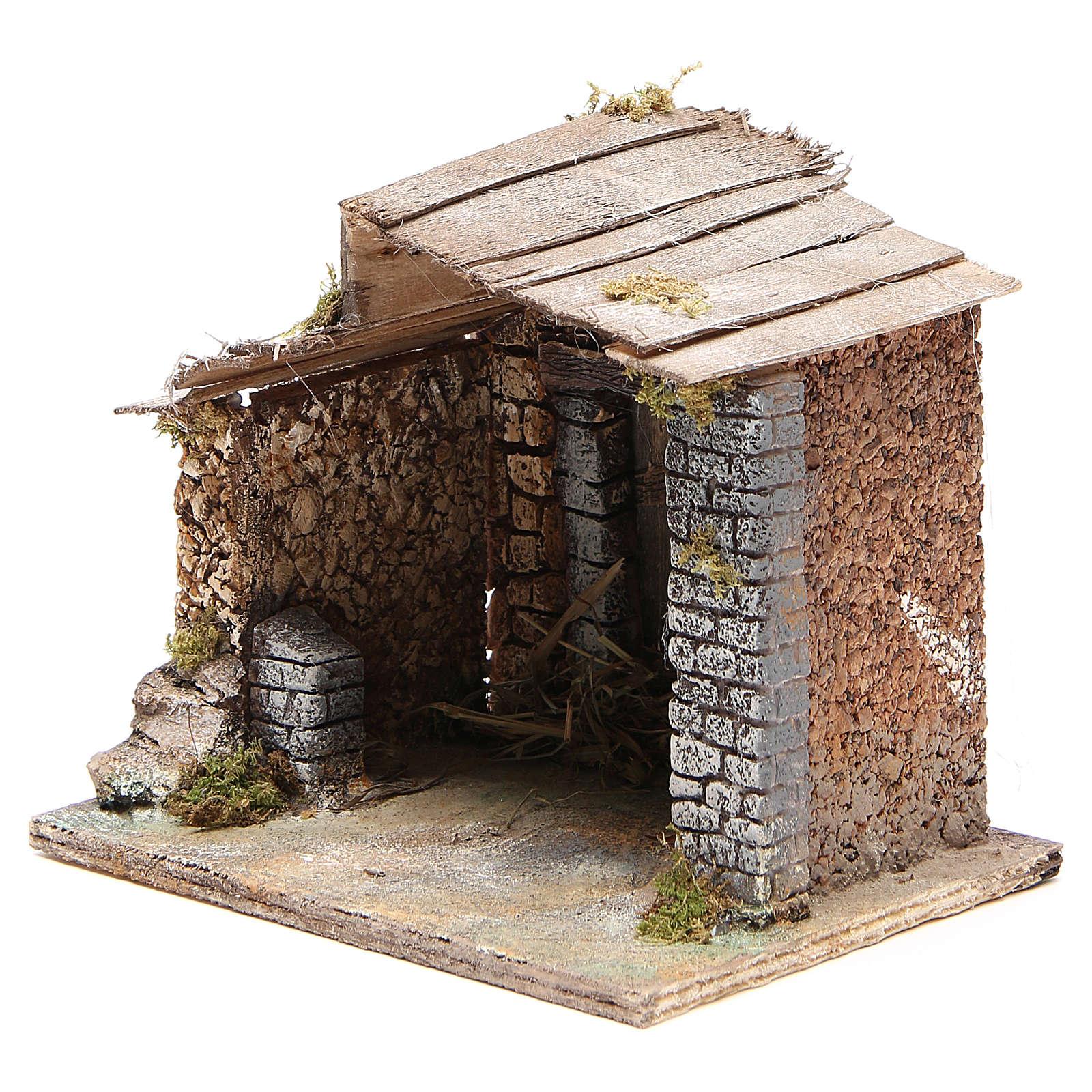 Cabane crèche Naples bois et liège 17x20x16 cm 4