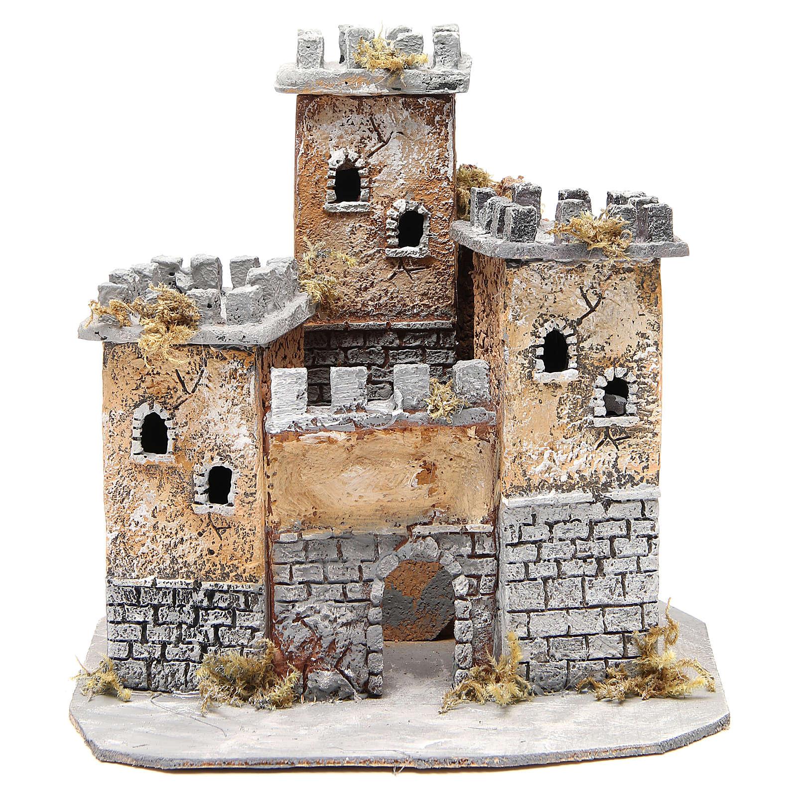 Castello in sughero presepe Napoli 28x26x26 cm 4
