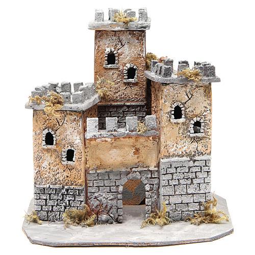Castello in sughero presepe Napoli 28x26x26 cm 1