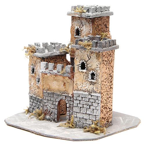 Castello in sughero presepe Napoli 28x26x26 cm 2