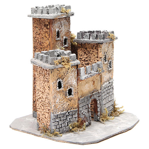 Castello in sughero presepe Napoli 28x26x26 cm 3