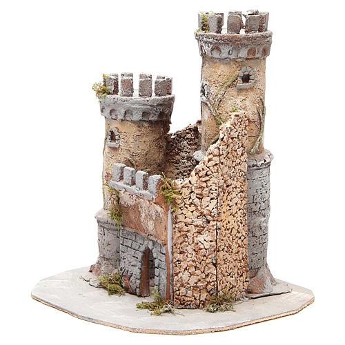 Castello presepe Napoli in sughero 30x26x26 2