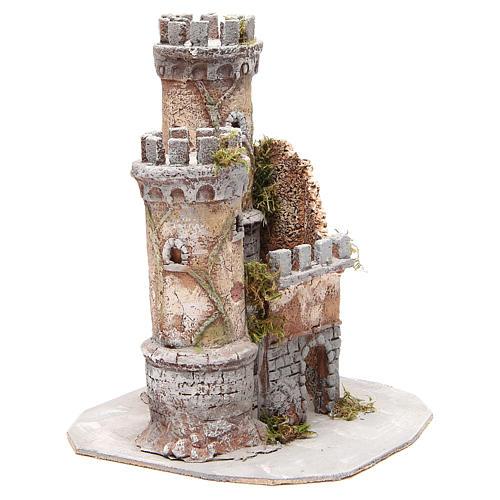 Castello presepe Napoli in sughero 30x26x26 3