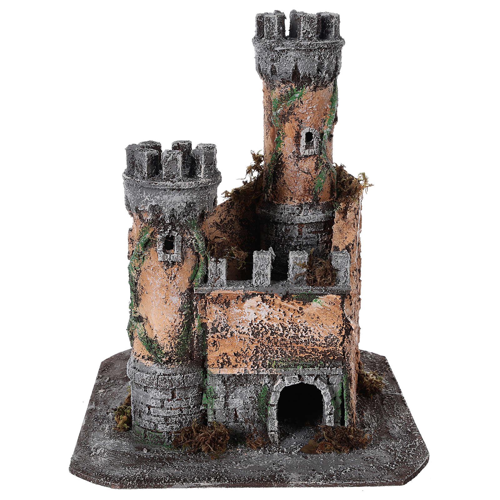 Castle for Neapolitan nativity scene in cork 30x26x26cm 4