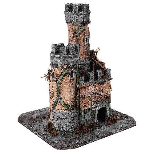 Castle for Neapolitan nativity scene in cork 30x26x26cm 3