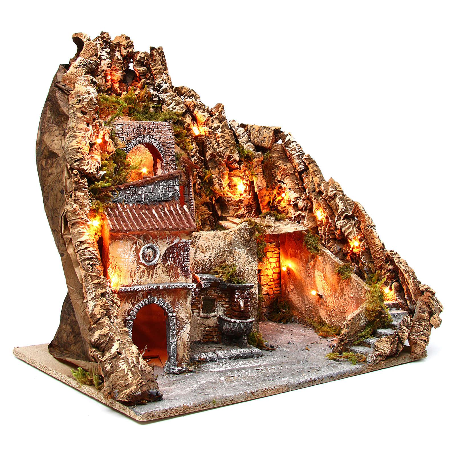 Pueblo iluminado con río para belén napolitano 70x60x48 cm 4