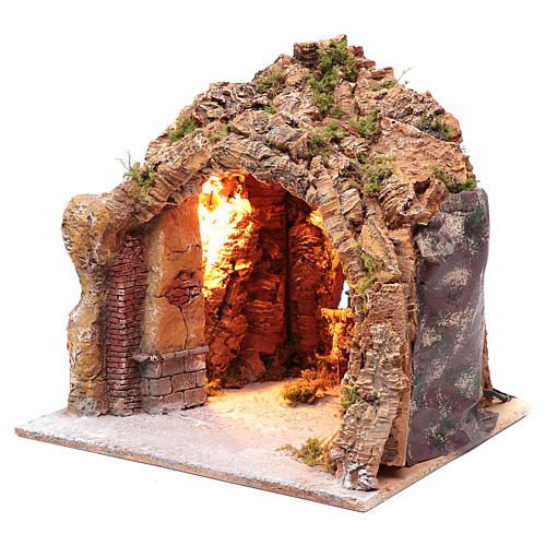 Nativity scene cave in Naples, illuminated and with a fire effect 35x40x22 cm	 2