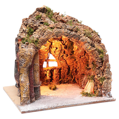 Nativity scene cave in Naples, illuminated and with a fire effect 35x40x22 cm	 3