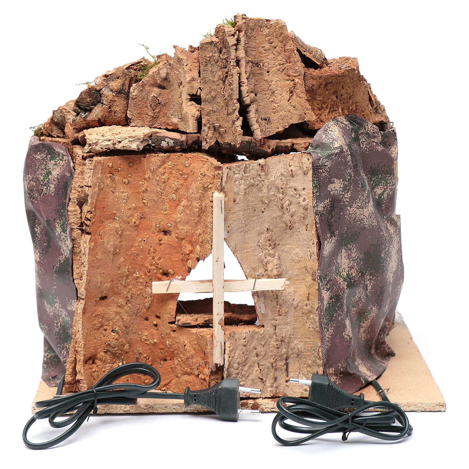 Cueva para belén de Nápoles iluminada y efecto fuego 35x40x22 cm 4