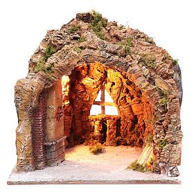 Cueva para belén de Nápoles iluminada y efecto fuego 35x40x22 cm s1