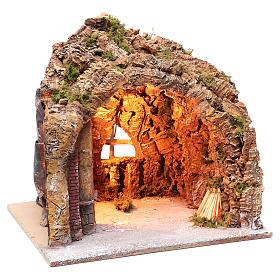 Gruta presépio Nápoles iluminada e efeito fogo 35x40x22 cm s3