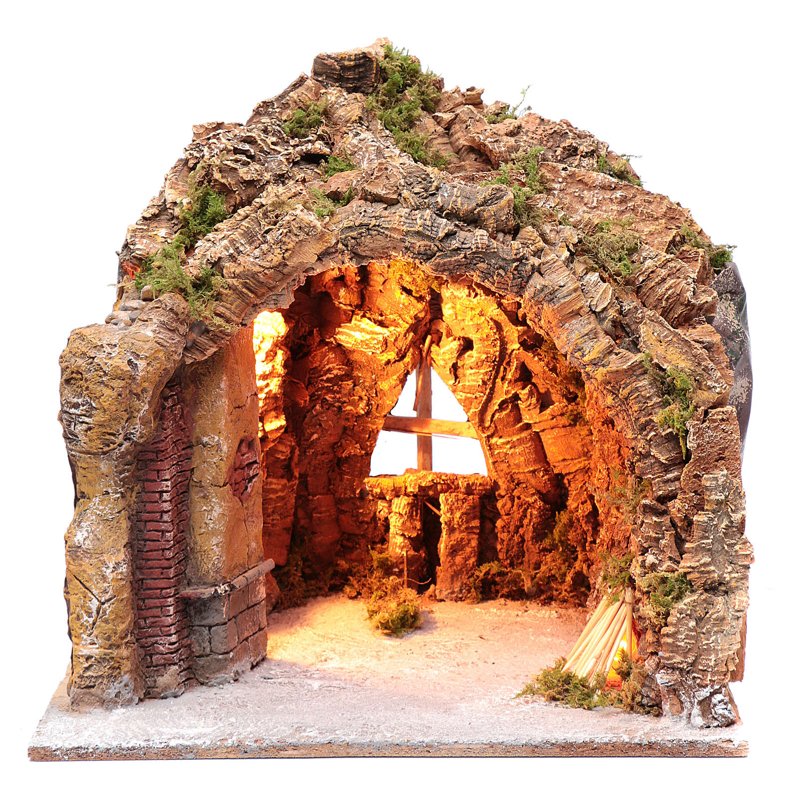 Nativity scene cave in Naples, illuminated and with a fire effect 35x40x22 cm 4