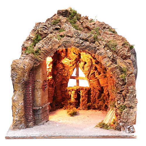 Nativity scene cave in Naples, illuminated and with a fire effect 35x40x22 cm	 1