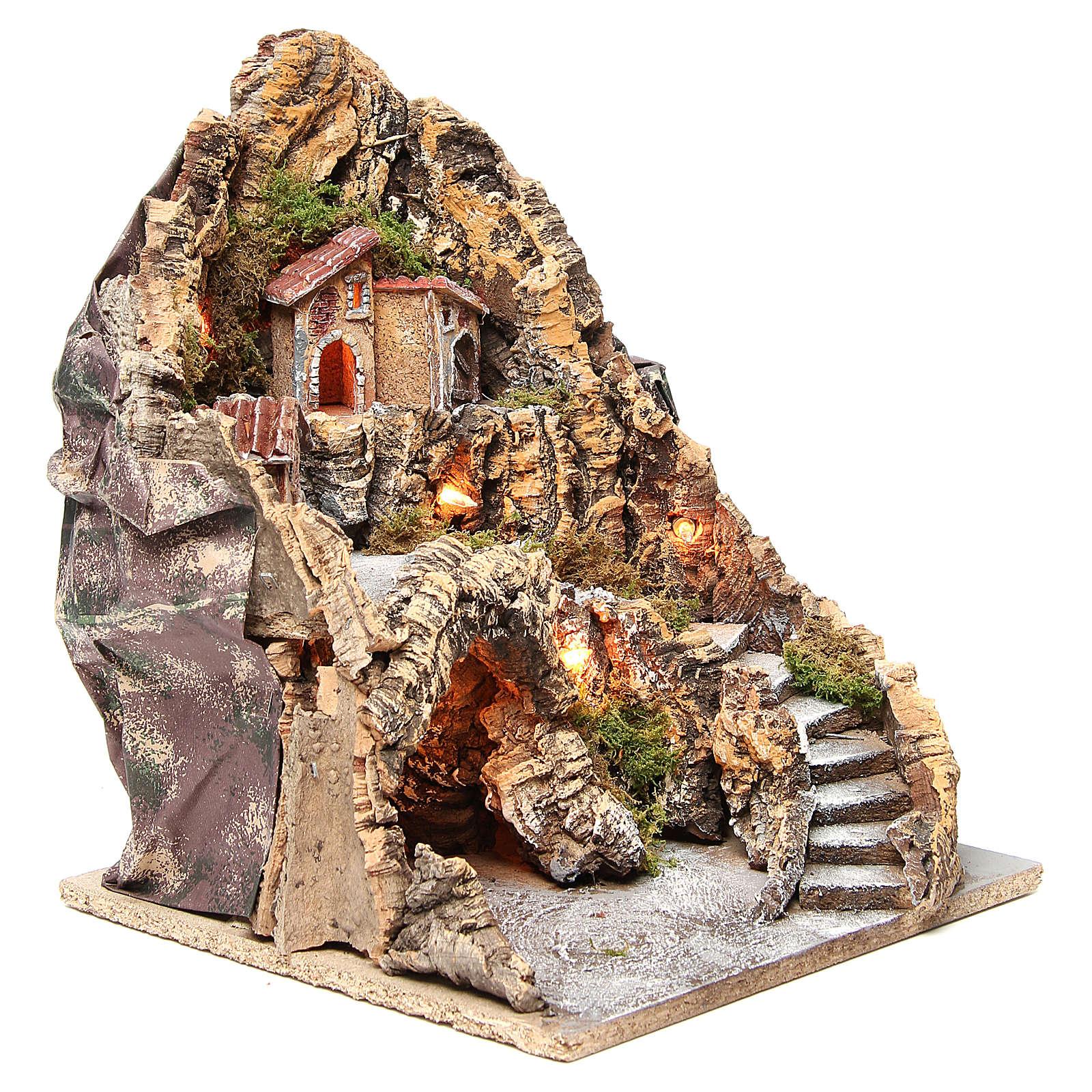 Borgo con grotta illuminato presepe Napoli 37x28x34 cm 4