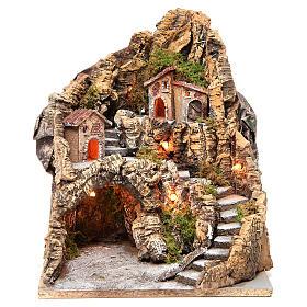 Borgo con grotta illuminato presepe Napoli 37x28x34 cm s1