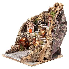 Borgo con grotta illuminato presepe Napoli 37x28x34 cm s2