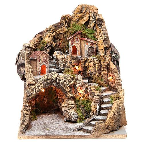 Borgo con grotta illuminato presepe Napoli 37x28x34 cm 1
