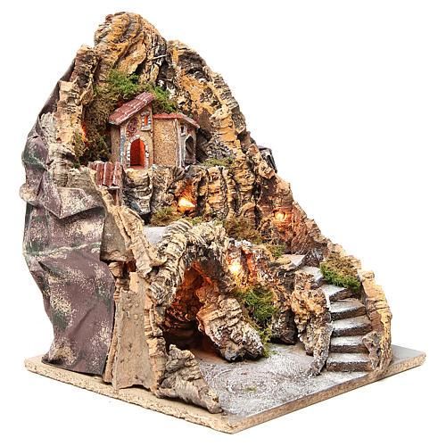 Borgo con grotta illuminato presepe Napoli 37x28x34 cm 3