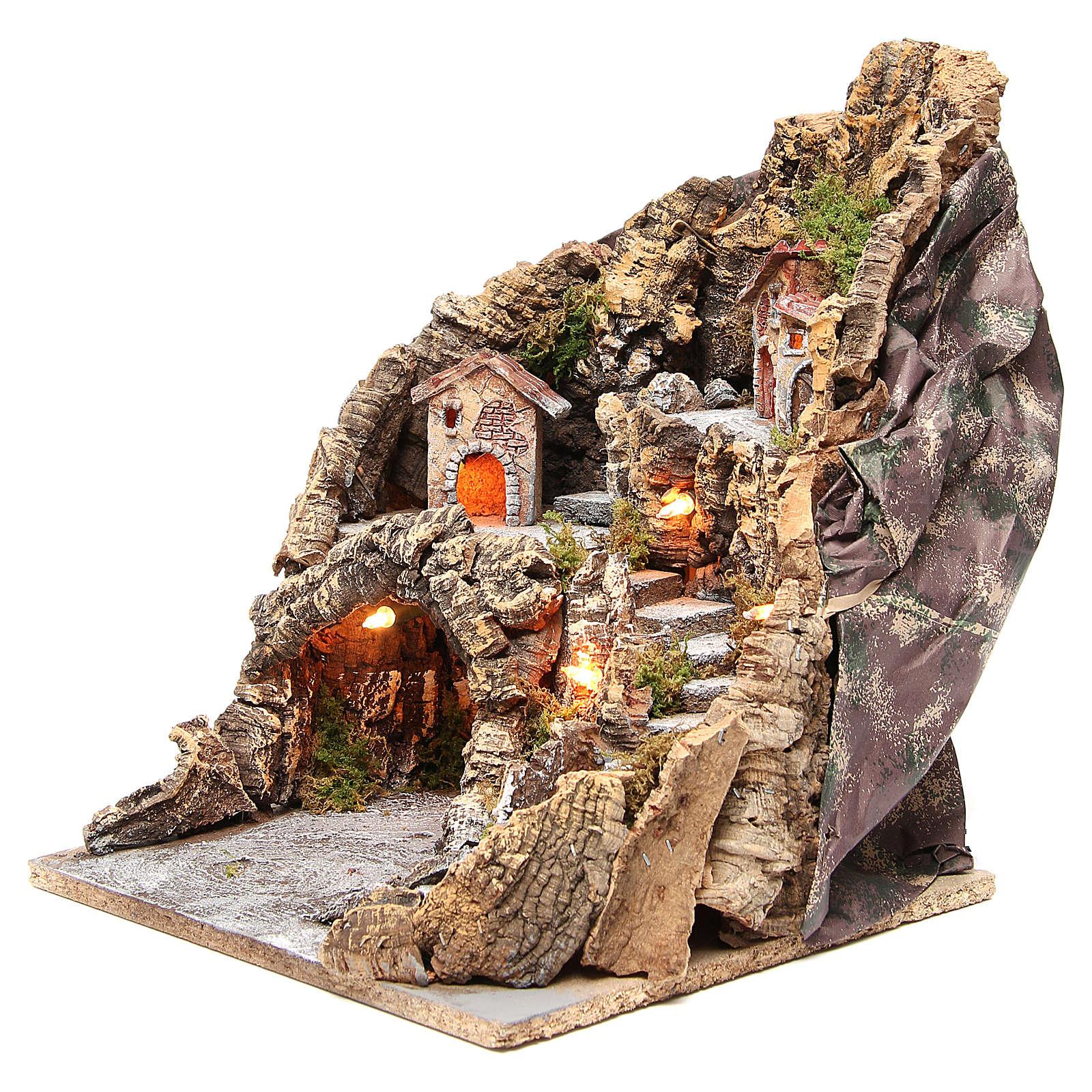 Illuminated Neapolitan nativity scene with cave 37x28x34 cm 4