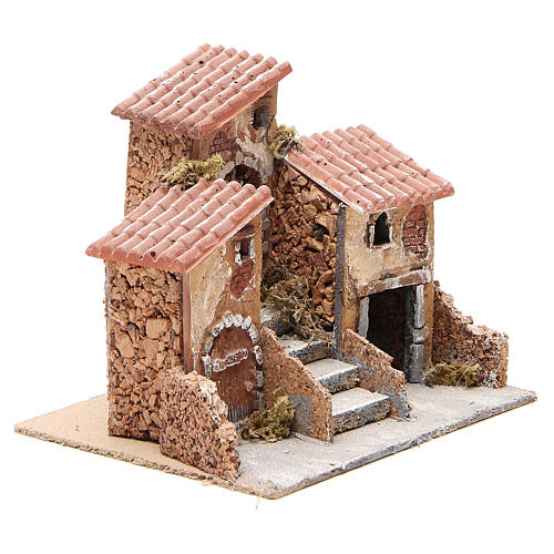 House in cork and resin for Neapolitan nativity 14x21x16cm 3