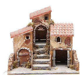 Casas con escalera pesebre Nápoles corcho y resina 14x21x16 cm s1
