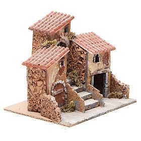 Casas con escalera pesebre Nápoles corcho y resina 14x21x16 cm s3