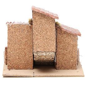 Casas con escalera pesebre Nápoles corcho y resina 14x21x16 cm s4