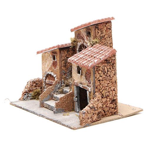 Casas con escalera pesebre Nápoles corcho y resina 14x21x16 cm 2