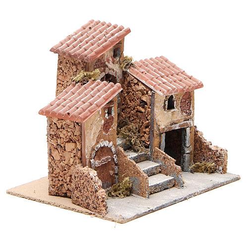 Casas con escalera pesebre Nápoles corcho y resina 14x21x16 cm 3