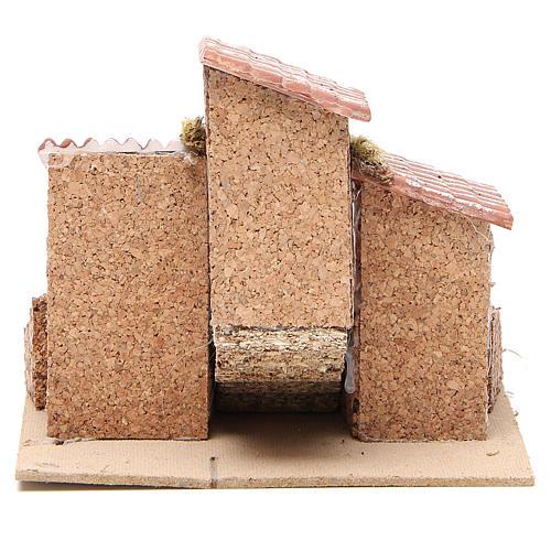 Casas con escalera pesebre Nápoles corcho y resina 14x21x16 cm 4
