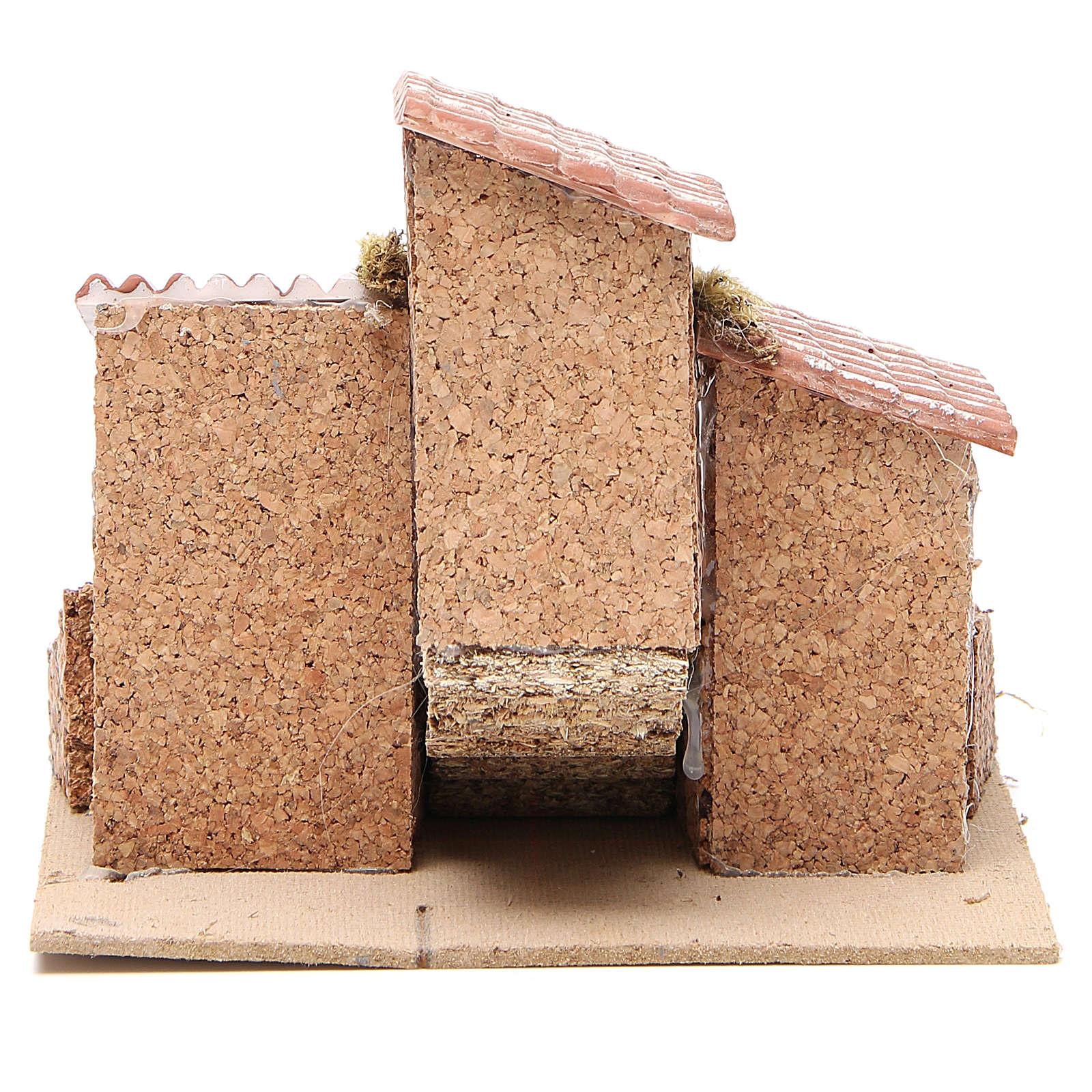 Maisons crèche napolitaine liège et résine 14x21x16 cm 4
