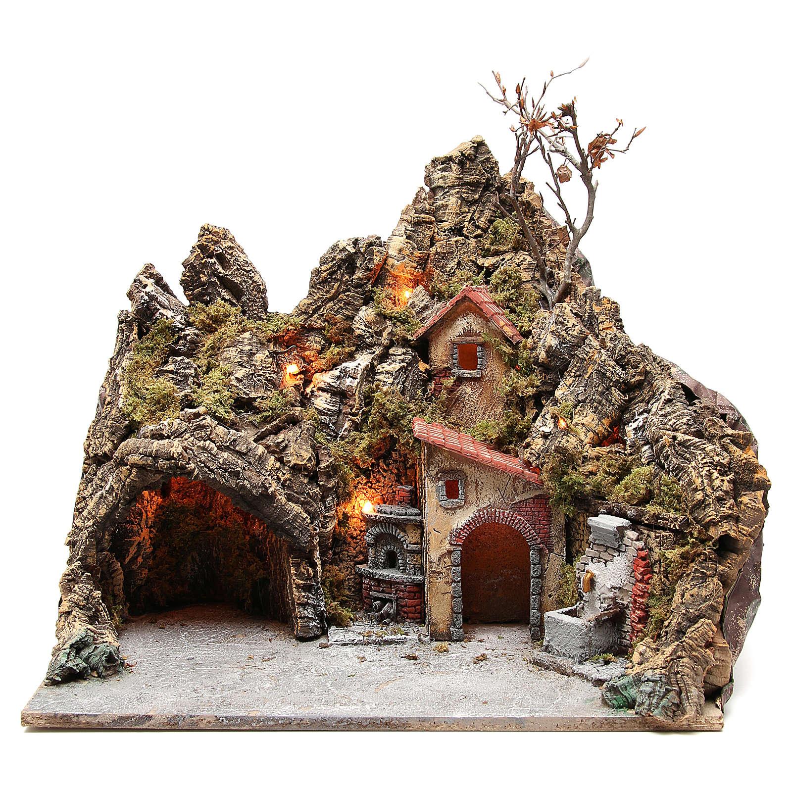 Illuminated village with fountain, oven and grotto, Neapolitan nativity 30x50x40cm 4
