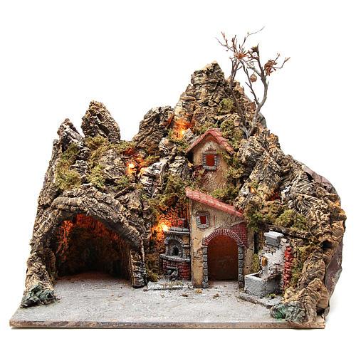 Illuminated village with fountain, oven and grotto, Neapolitan nativity 30x50x40cm 1