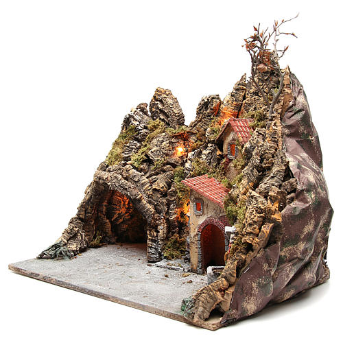 Borgo con grotta fontana forno presepe Napoli 30x50x40 cm 2