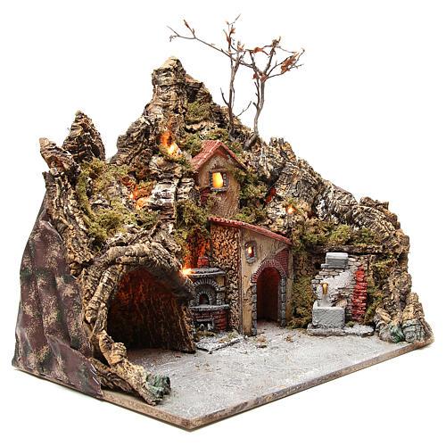 Borgo con grotta fontana forno presepe Napoli 30x50x40 cm 3