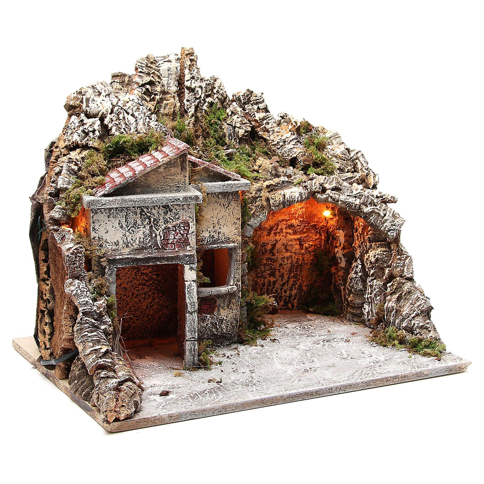 Pueblo con cabaña y efecto fuego 50x43x40 cm 4