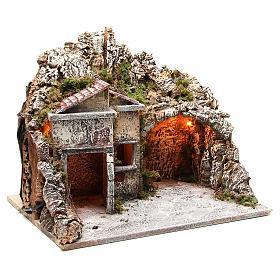 Pueblo con cabaña y efecto fuego 50x43x40 cm s3
