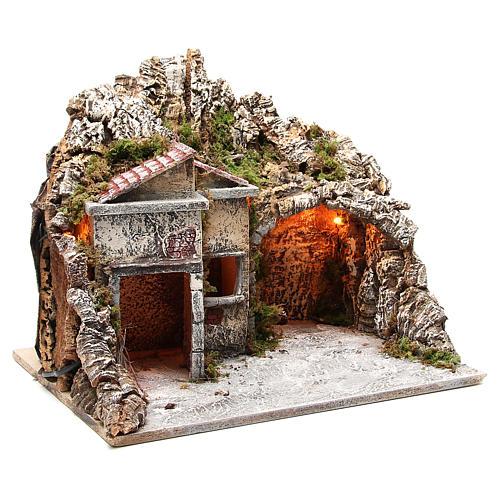 Pueblo con cabaña y efecto fuego 50x43x40 cm 3