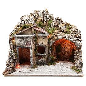 Capanna con case e effetto fuoco 50x43x40 cm s1