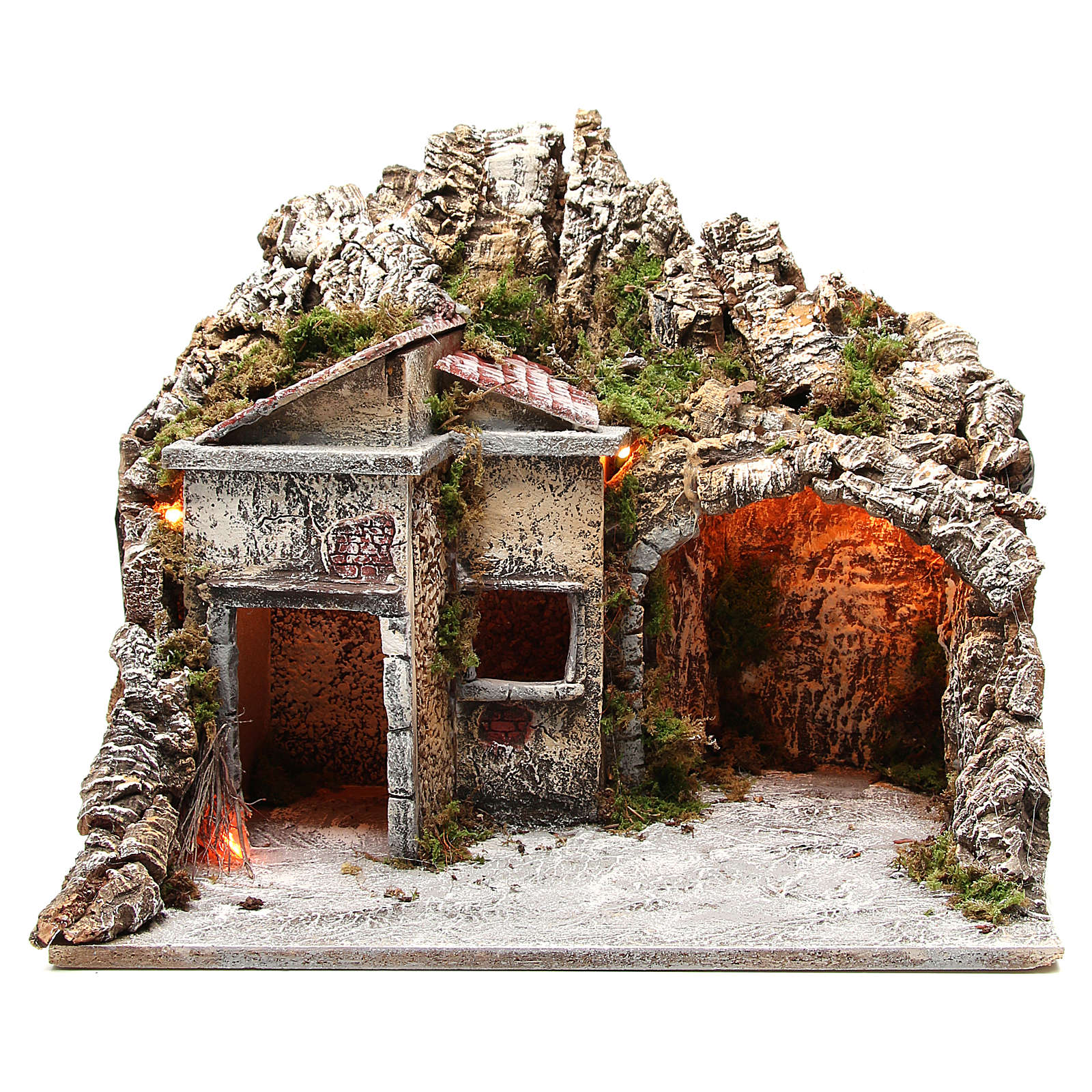Illuminated stable with houses and fire, nativity scene 50x43x40cm 4