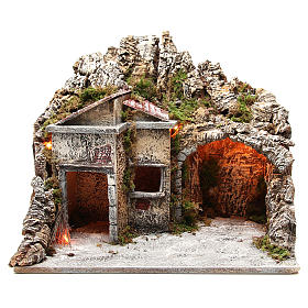 Illuminated stable with houses and fire, nativity scene 50x43x40cm s1