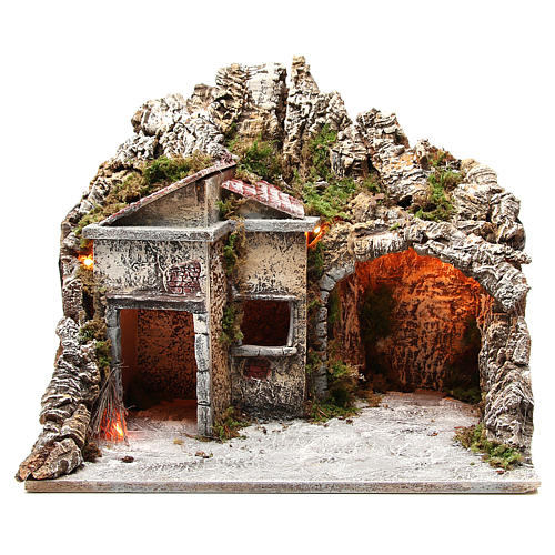 Illuminated stable with houses and fire, nativity scene 50x43x40cm 1