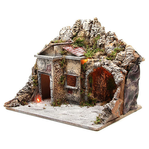 Illuminated stable with houses and fire, nativity scene 50x43x40cm 2