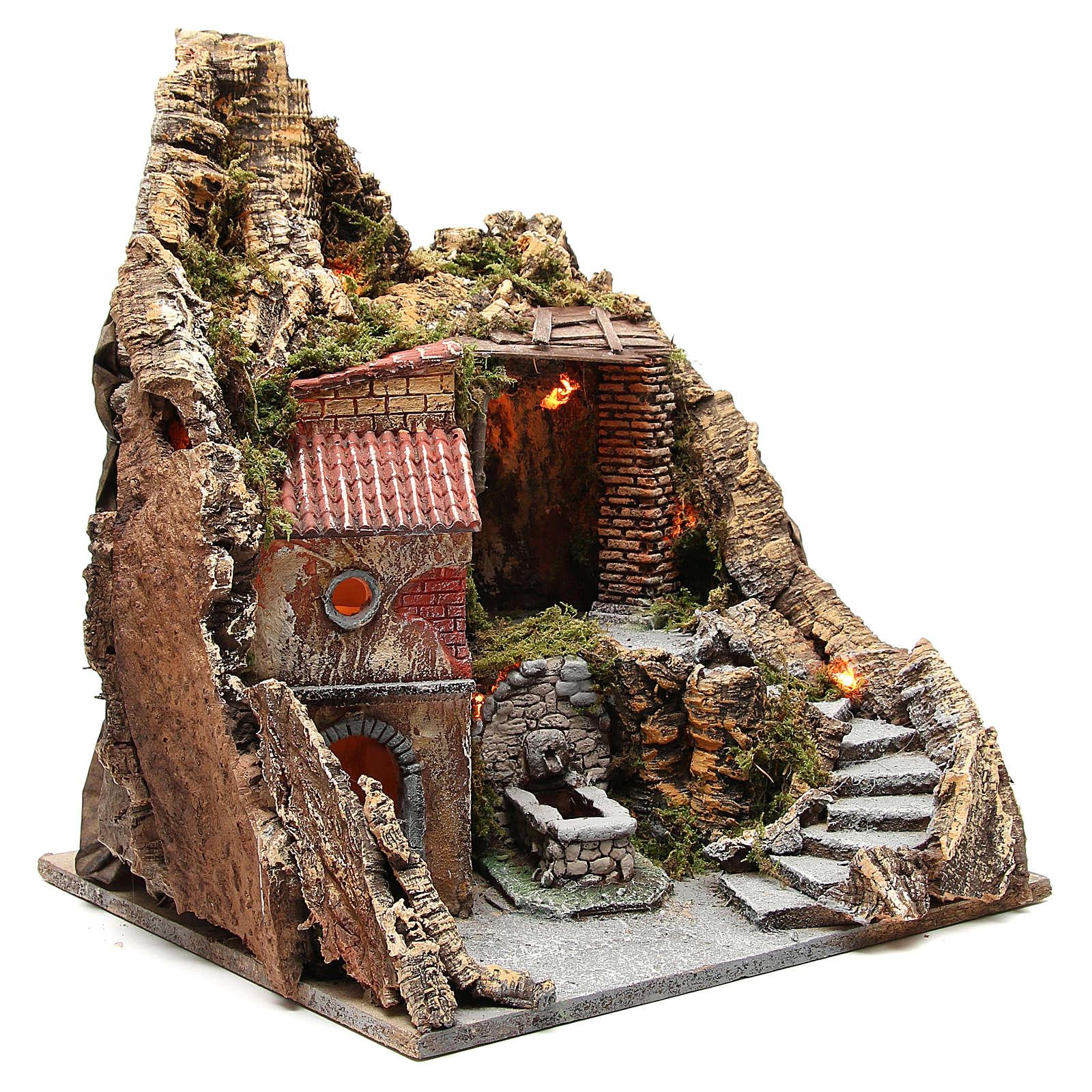 Pueblo con cueva y fuente para belén de Nápoles 38x45x35 cm 4