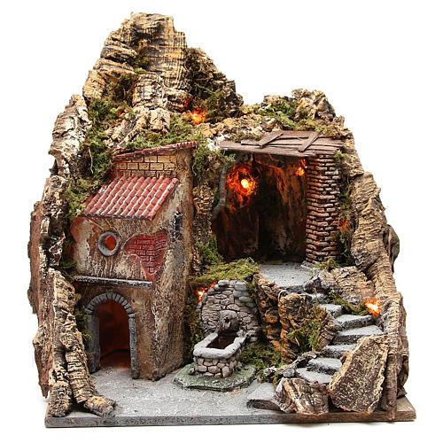 Pueblo con cueva y fuente para belén de Nápoles 38x45x35 cm 1